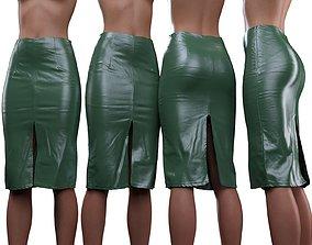 Leather Double Split Skirt 3D