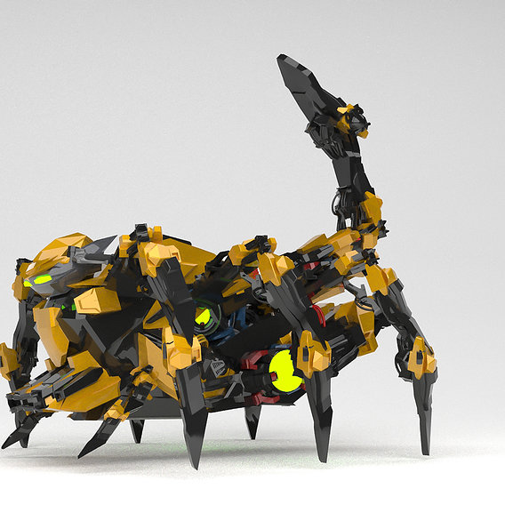 3d SpiderBots yellow 3d max model
