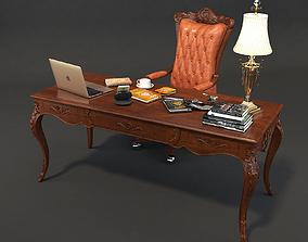 Classic Office Working Desk Set 3D model