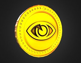 3D asset Game-Ready Eye Symbol Gold Coin