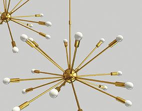 3D Mid Century Brass Sputnik Chandelier
