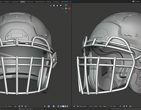 3D printable model Modern Football Helmet with various