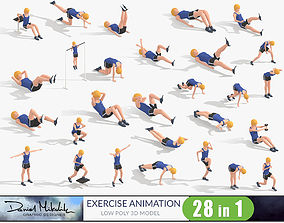 3D model Exercise Animations Bundle Woman