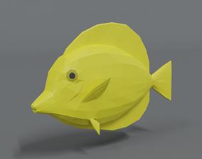 Low Poly Cartoon Yellow Tang Fish 3D model