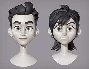 3D Male and female cartoon characters base mesh