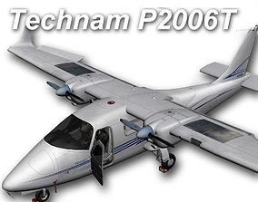 Tecnam P2006T Exterior 3D model animated