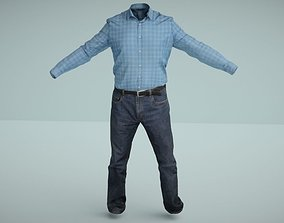 Men outfit set Shirt and Jeans low poly 3D model