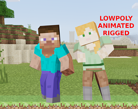 animated MINECRAFT 3D STEVE AND ALEX - RIGGED AND ANIMATED