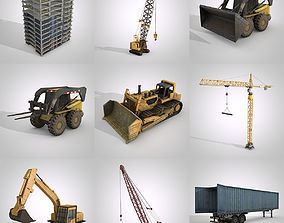 3D asset low-poly Construction Vehicles