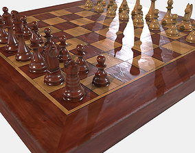 Low Poly PBR Chess Set 3D model game-ready