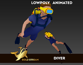 3D model Diver animated