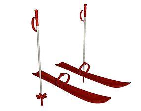 Ski set 3d model low-poly
