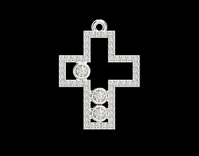 gold Cross pendant with gems 3dm stl CAD