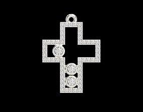 gold Cross pendant with gems 3dm stl CAD