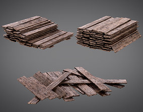 low-poly Cutted Wood Stacks Planks AAA PBR Game Ready