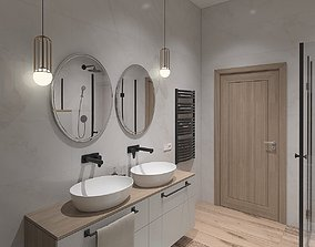 3D model Unique bathroom with sloping ceilings