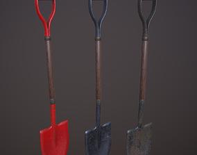Shovel with 3 texture sets 3D asset