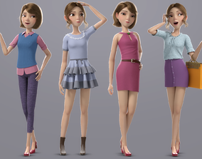 Cartoon Girl Rigged 3D PBR