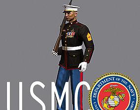 3D model USMC soldier dress uniform with M14 rifle MAX