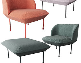 Oslo lounge chair and Pouf 3D model