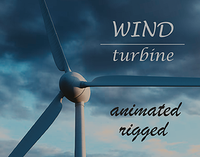 Wind Turbine Animated Riged Model 3D asset VR / AR ready