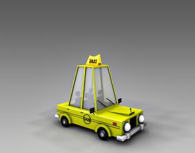 3D asset taxicab Low Poly Taxi Car