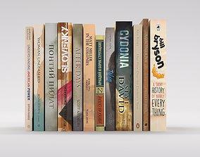 bookcase set 12 hardcover beige books 3D