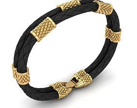 3D print model bracelets MEN LEATHER BRACELET