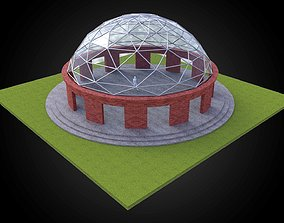 Dome with glass panels triangulated wire-frame 3D model 1