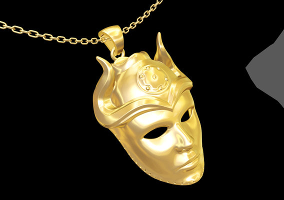 Sons Harpy Mask Sculpture pendant jewelry gold necklace 3D print model