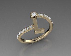Jewelry Alphabet Diamond Ring L 3D print model