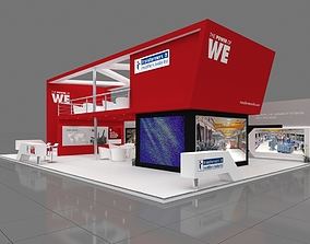 Exhibition stall 3d model 15x10mtr 3 sides open