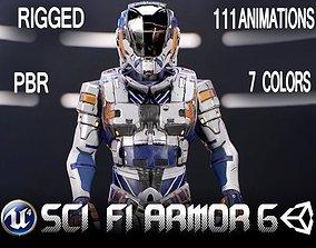 3D asset animated Sci-Fi Armor 6