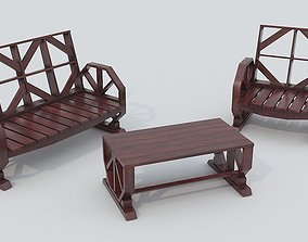 Wooden Bench and Table PBR 3D asset