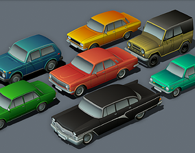 USSR Cartoon cars 3D asset