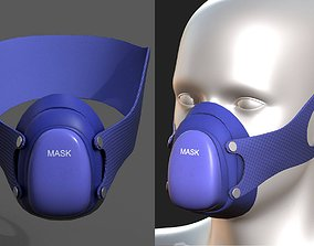 Gas mask respirator military combat 3d model realtime
