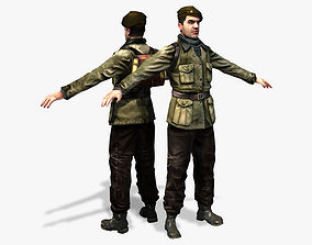 animated WWII Partisan 3D Character