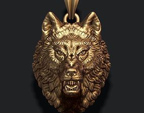 3D print model angry wolf pendant nature