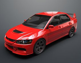 Mitsubishi lancer evolution IX 3D model rigged