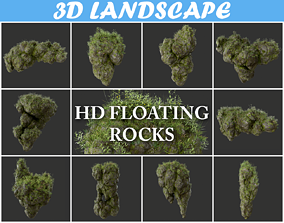 High poly Floating Island Mossy Rock Pack 190502 3D model