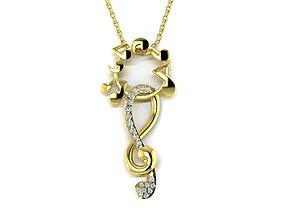 Diamond Jewelry Musical Pendant 3D print model