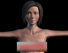 3D model animated game-ready Naked Girl