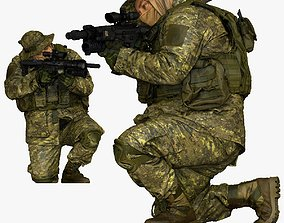 modern soldier aiming on knee honeybadger 001151 3D 1