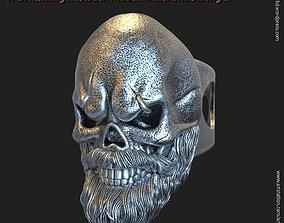 Skull with beard vol3 ring 3D printable model