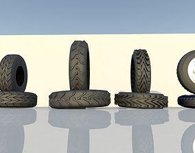 3D asset low poly tires