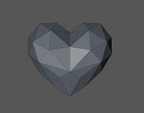 low poly heart with flat side 3D printable model