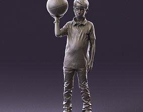 junior boy with basketball ball 1080 3D Print Ready