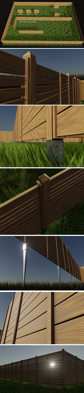 Modular Wood Fence 2 with horizontal bars 2 meter high