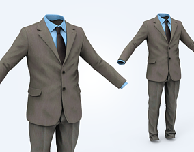 Business Suit Man body 3D asset game-ready