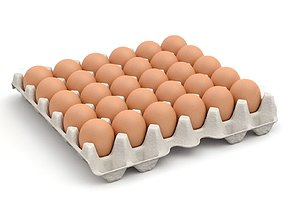 Eggs in a carton package 3D